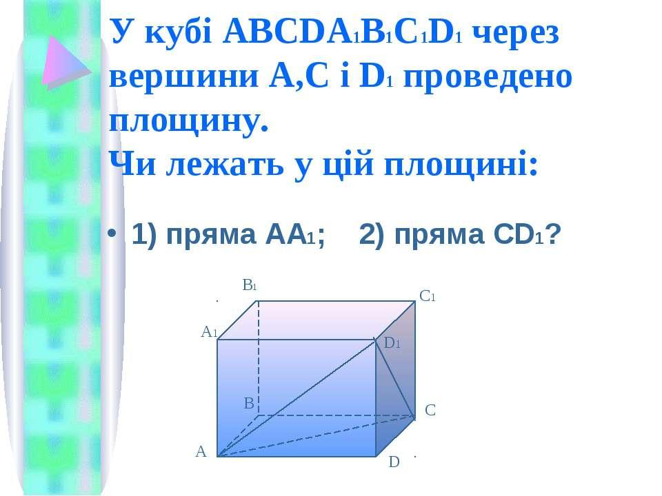 У кубі ABCDA1B1C1D1 через вершини А,С і D1 проведено площину. Чи лежать у цій...