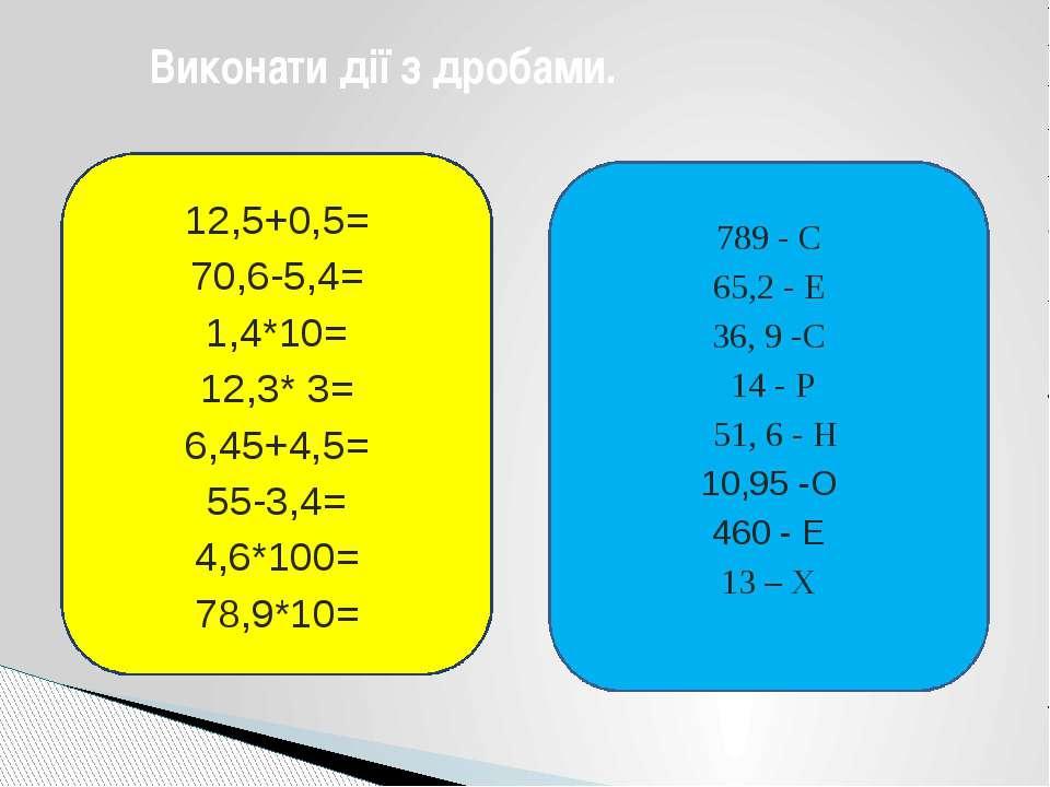 Виконати дії з дробами. 12,5+0,5= 70,6-5,4= 1,4*10= 12,3* 3= 6,45+4,5= 55-3,4...