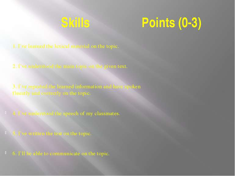 Skills Points (0-3) 1. I`ve learned the lexical material on the topic.   2. I...