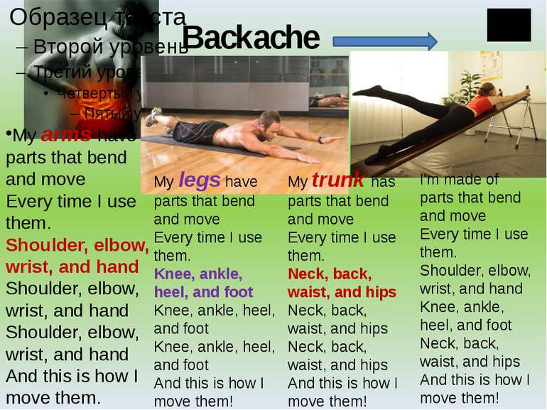 Backache My arms have parts that bend and move Every time I use them. Shoulde...