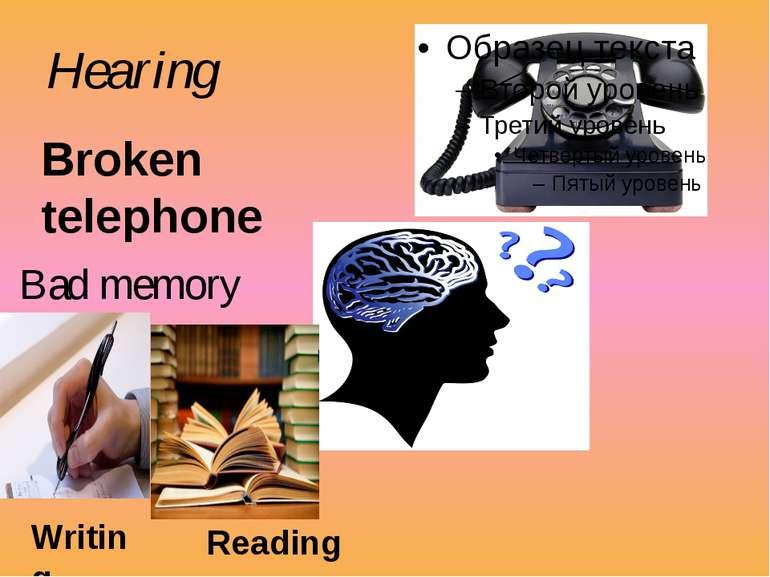Hearing Broken telephone Bad memory Writing Reading