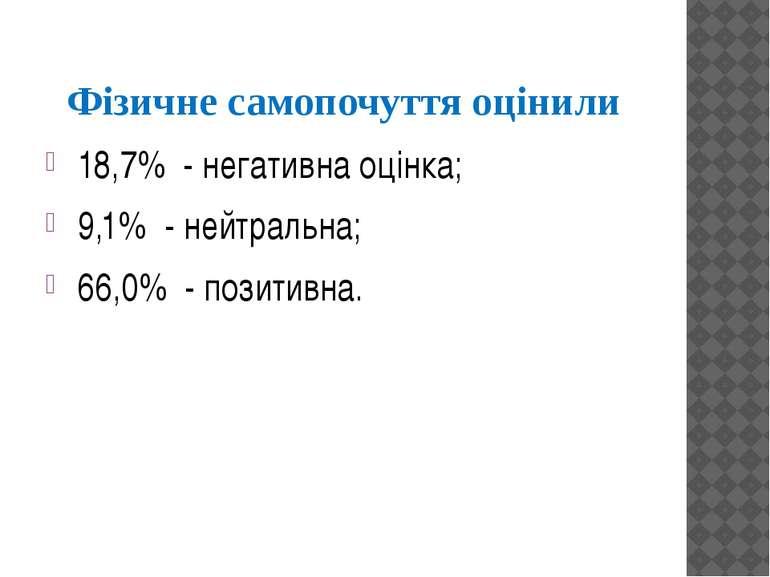 Фізичне самопочуття оцінили 18,7% - негативна оцінка; 9,1% - нейтральна; 66,0...