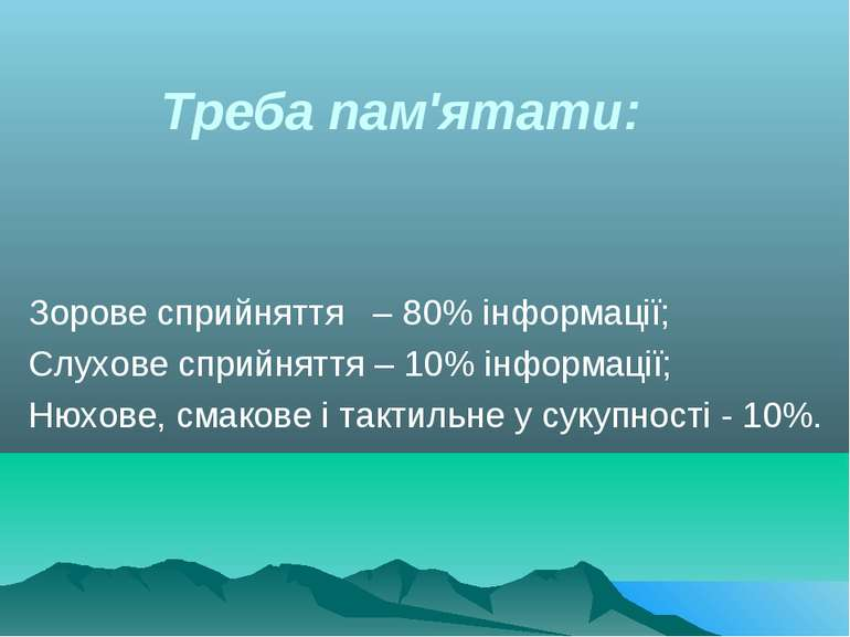 Зорове сприйняття – 80% інформації; Слухове сприйняття – 10% інформації; Нюхо...
