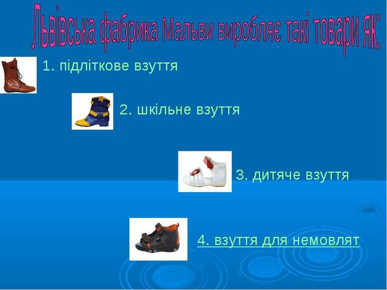 1. підліткове взуття 2. шкільне взуття 3. дитяче взуття 4. взуття для немовлят