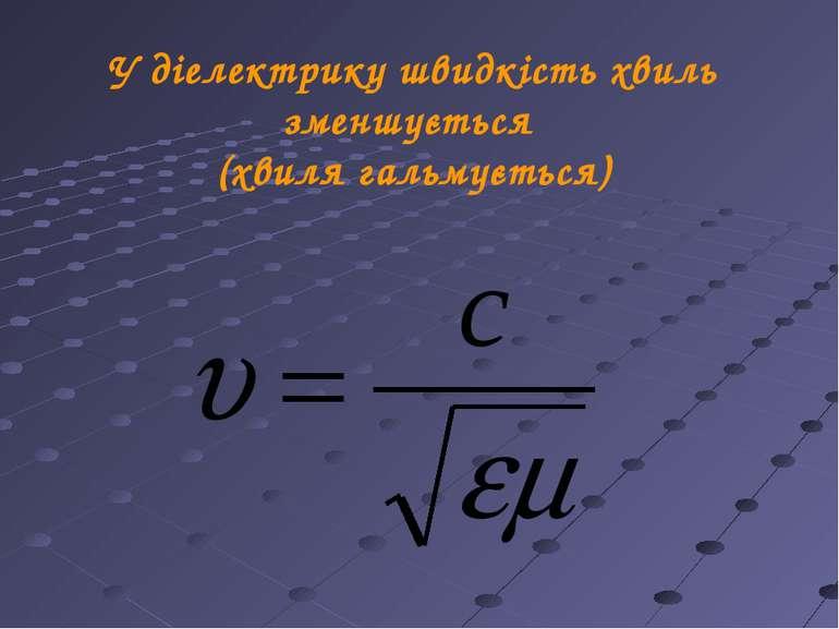 У діелектрику швидкість хвиль зменшується (хвиля гальмується)