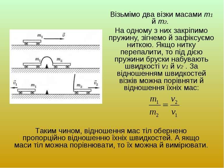 Візьмімо два візки масами m1 й m2. На одному з них закріпимо пружину, зігнемо...
