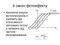 ІІ закон фотоефекту Кінетична енергія фотоелектронів не залежить від інтенсив...