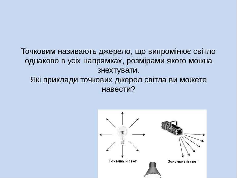 Точковим називають джерело, що випромінює світло однаково в усіх напрямках, р...