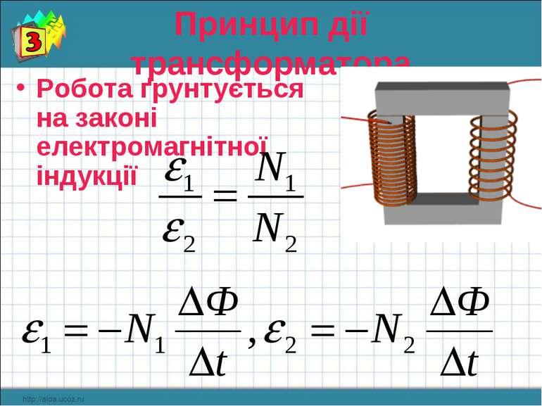 Принцип дії трансформатора Робота ґрунтується на законі електромагнітної інду...