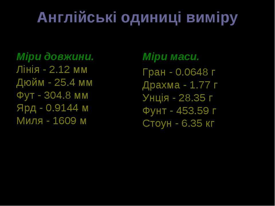 Англійські одиниці виміру Міри довжини. Лінія - 2.12 мм Дюйм - 25.4 мм Фут - ...