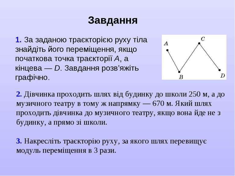 Завдання 1. За заданою траєкторією руху тіла знайдіть його переміщення, якщо ...