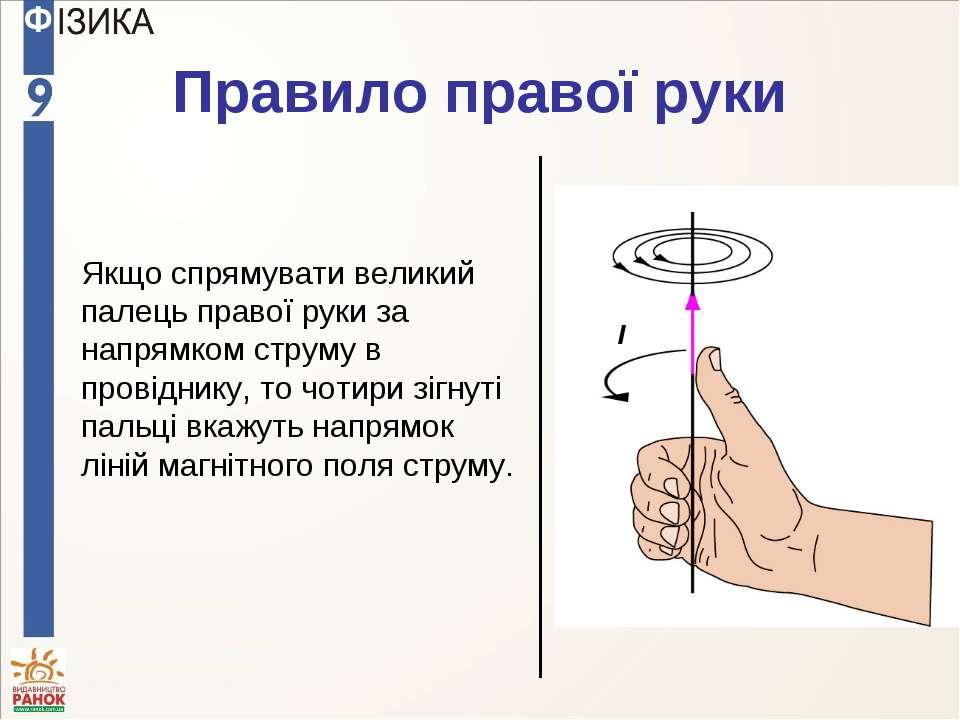 Правило правої руки I Якщо спрямувати великий палець правої руки за напрямком...