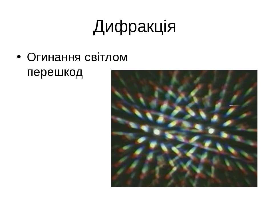 Дифракція Огинання світлом перешкод