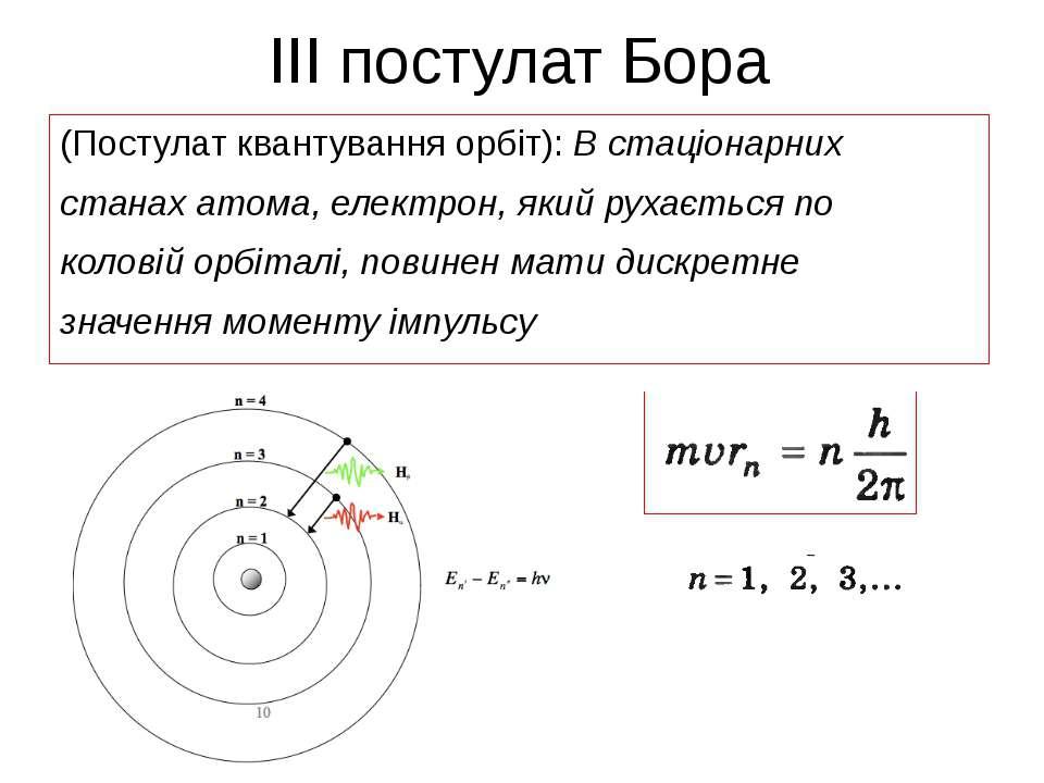 ІІІ постулат Бора (Постулат квантування орбіт): В стаціонарних станах атома, ...