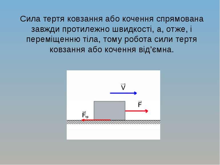 Сила тертя ковзання або кочення спрямована завжди протилежно швидкості, а, от...