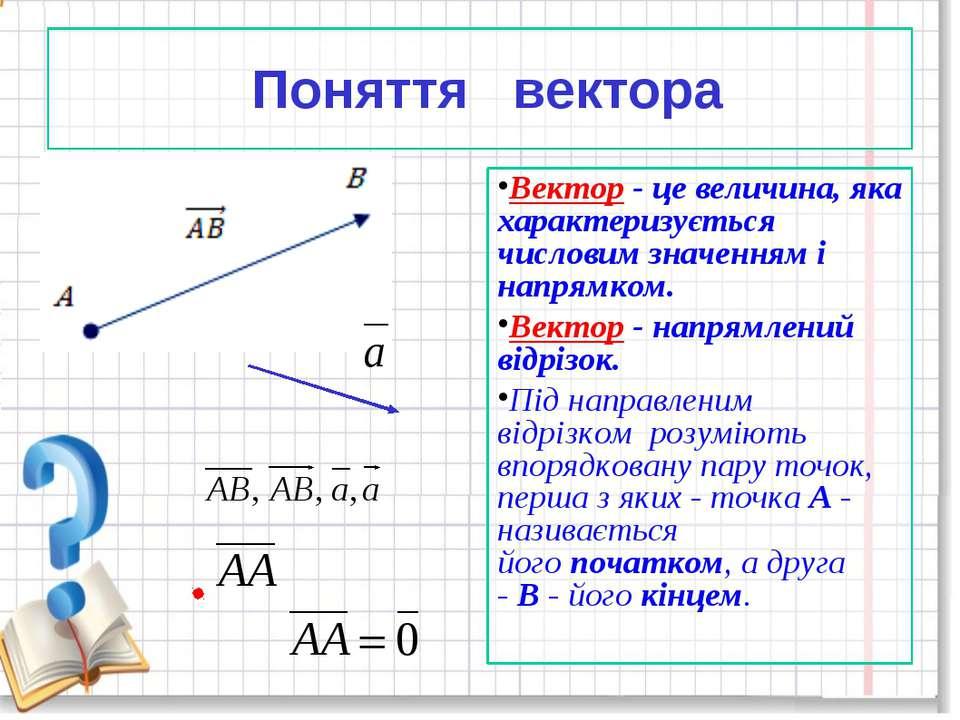 Поняття вектора Вектор- це величина, яка характеризується числовим значенням...