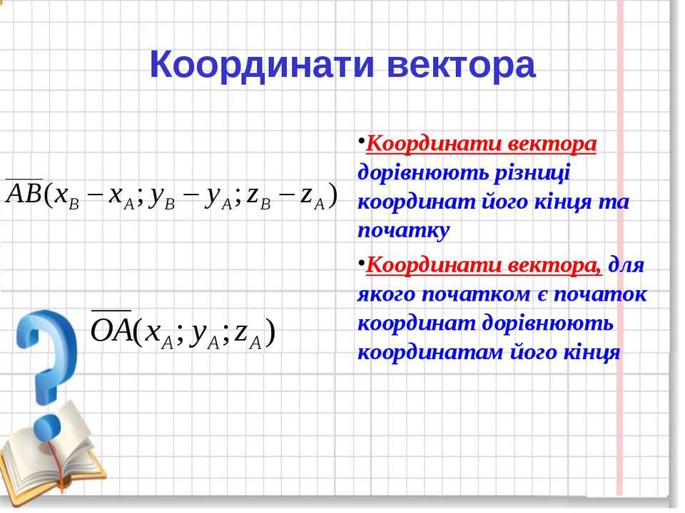 Координати вектора дорівнюють різниці координат його кінця та початку Координ...