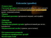 Етіологія (тромбоз) Атеросклероз Системні артеріїти (облітеруючий тромбангіїт...
