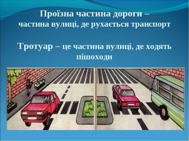 Проїзна частина дороги – частина вулиці, де рухається транспорт Тротуар – це ...