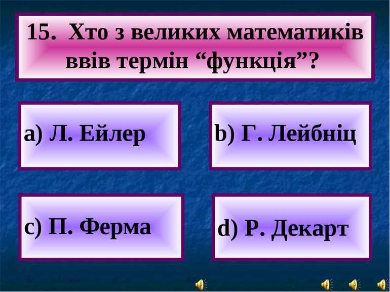 """а) Л. Ейлер 15. Хто з великих математиків ввів термін """"функція""""? c) П. Ферма ..."""