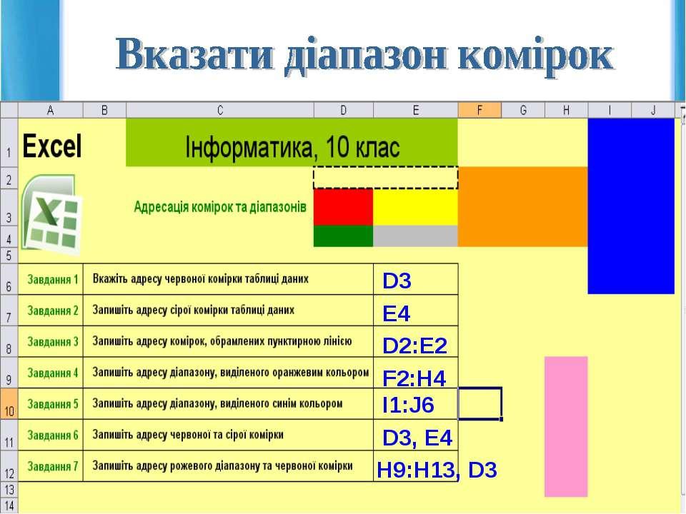 D3 E4 D2:E2 F2:H4 I1:J6 D3, E4 H9:H13, D3