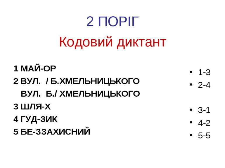 Кодовий диктант 1 МАЙ-ОР 2 ВУЛ. / Б.ХМЕЛЬНИЦЬКОГО ВУЛ. Б./ ХМЕЛЬНИЦЬКОГО 3 ШЛ...