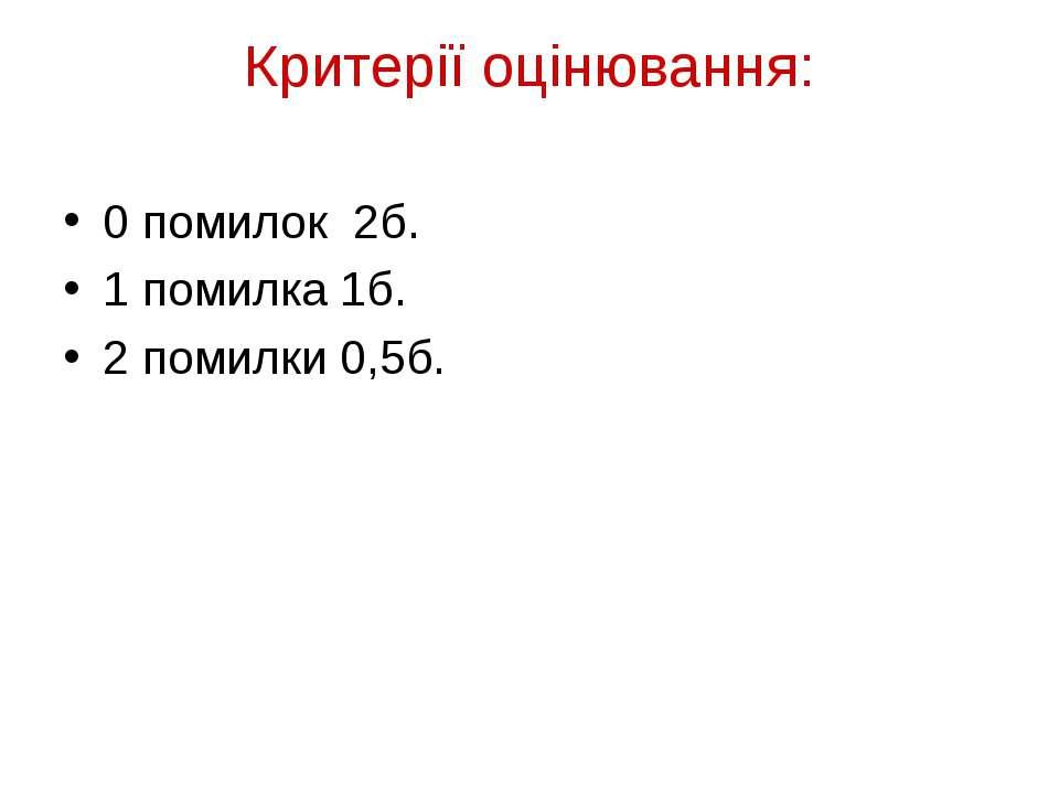 Критерії оцінювання: 0 помилок 2б. 1 помилка 1б. 2 помилки 0,5б.