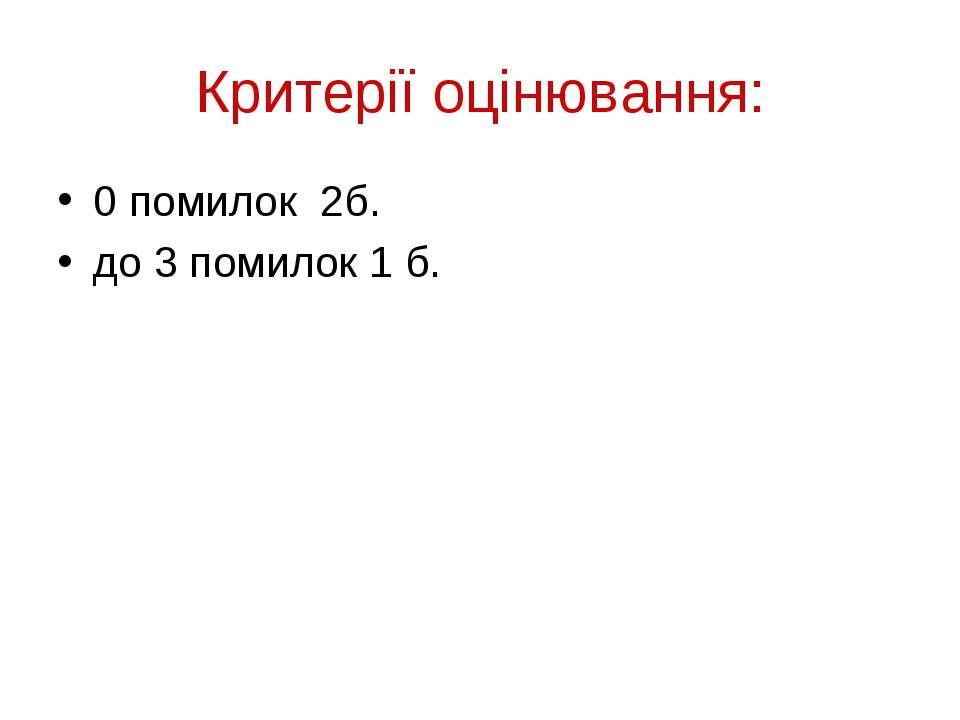 Критерії оцінювання: 0 помилок 2б. до 3 помилок 1 б.