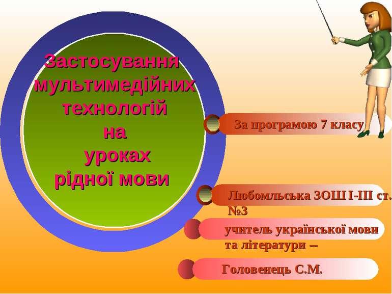 Застосування мультимедійних технологій на уроках рідної мови За програмою 7 к...