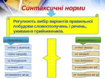 Синтаксичні норми Регулюють вибір варіантів правильної побудови словосполучен...