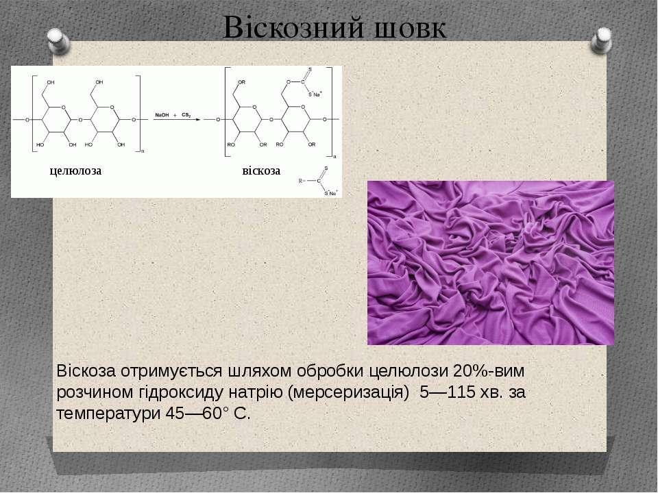 Віскозний шовк Віскоза отримується шляхом обробки целюлози 20%-вим розчином г...