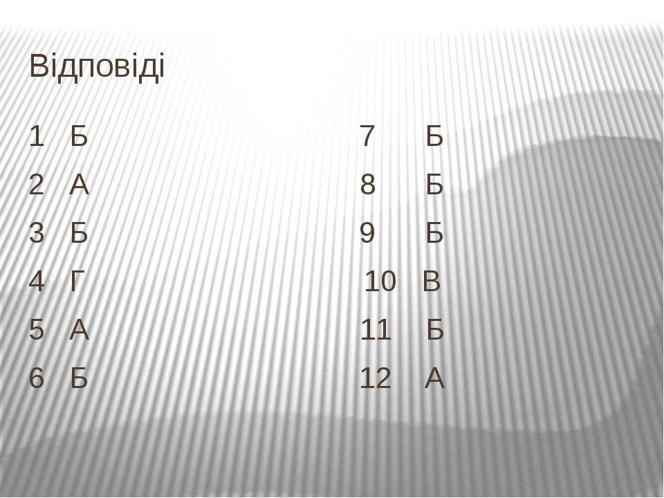 Відповіді 1 Б 7 Б 2 А 8 Б 3 Б 9 Б 4 Г 10 В 5 А 11 Б 6 Б 12 А
