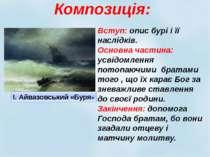 Композиція: Вступ: опис бурі і її наслідків. Основна частина: усвідомлення по...