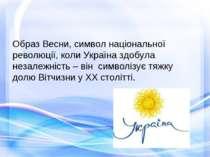 Образ Весни, символ національної революції, коли Україна здобула незалежність...