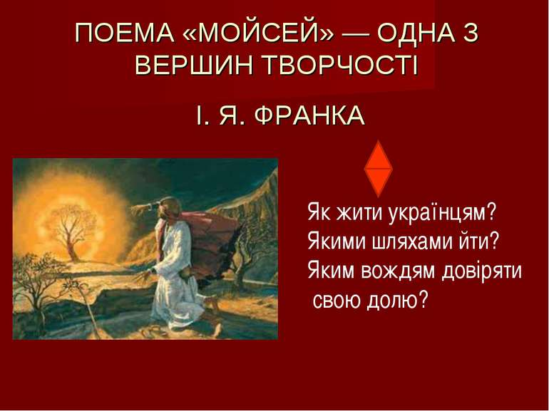 ПОЕМА «МОЙСЕЙ» — ОДНА З ВЕРШИН ТВОРЧОСТІ І. Я. ФРАНКА Як жити українцям? Яким...