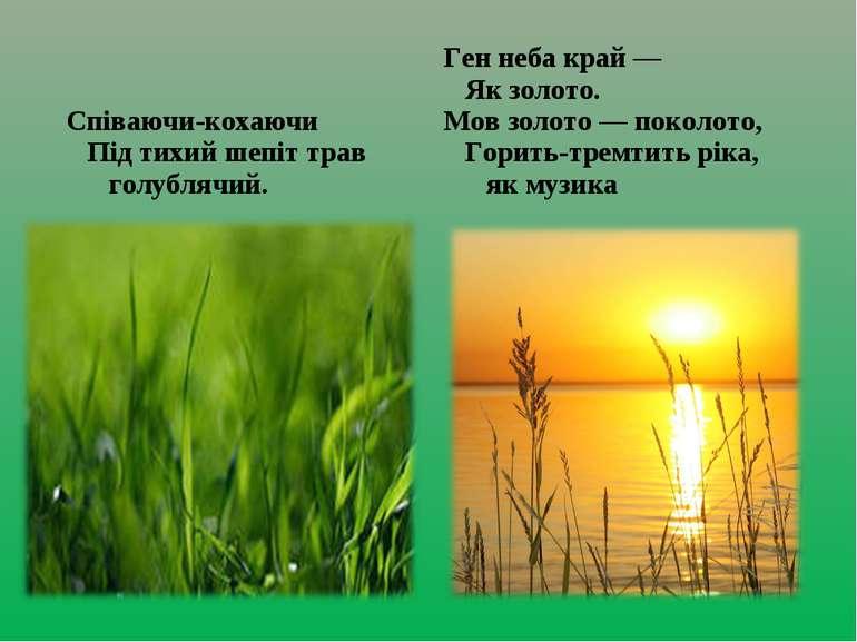 Співаючи-кохаючи  Під тихий шепіт трав    голублячий. Ген неба край —  ...