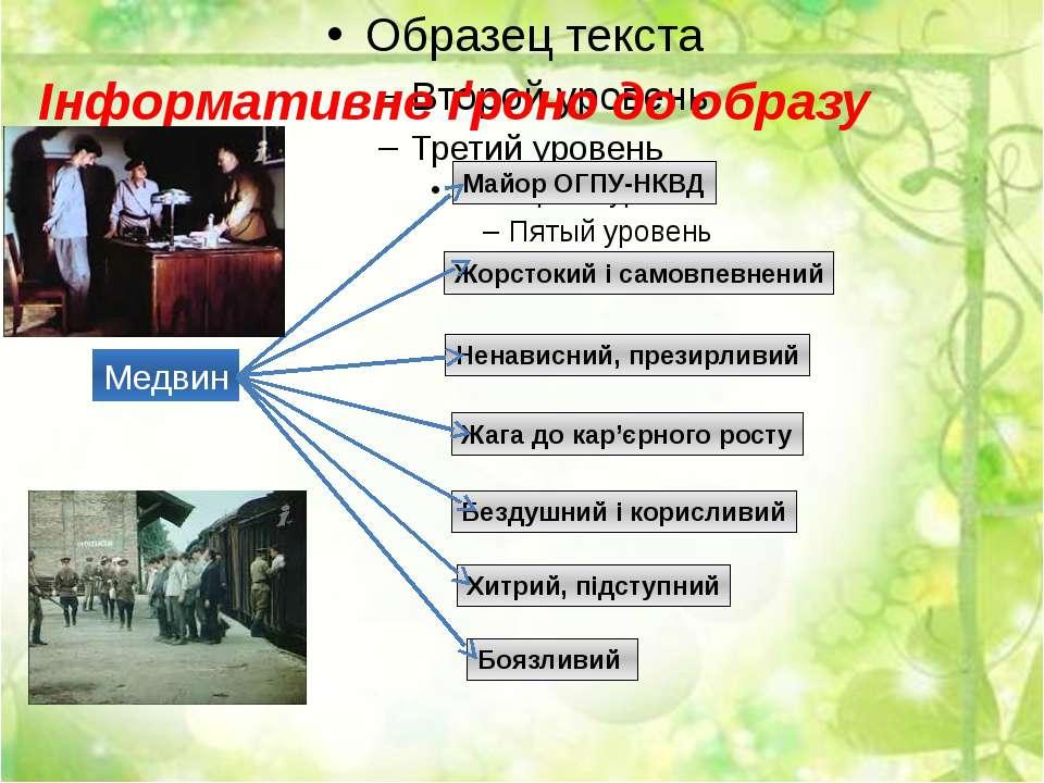 Інформативне ґроно до образу Медвина: Медвин Майор ОГПУ-НКВД Жорстокий і само...