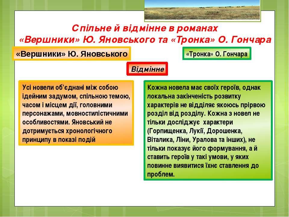 Спільне й відмінне в романах «Вершники» Ю. Яновського та «Тронка» О. Гончара ...