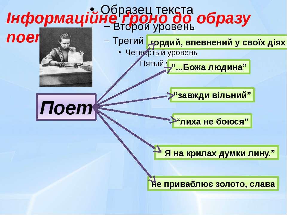 """Інформаційне ґроно до образу поета: Поет гордий, впевнений у своїх діях """"...Б..."""