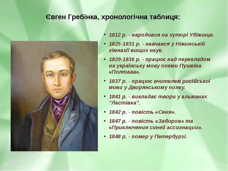 Євген Гребінка, хронологічна таблиця: 1812 р. - народився на хуторі Убіжище. ...