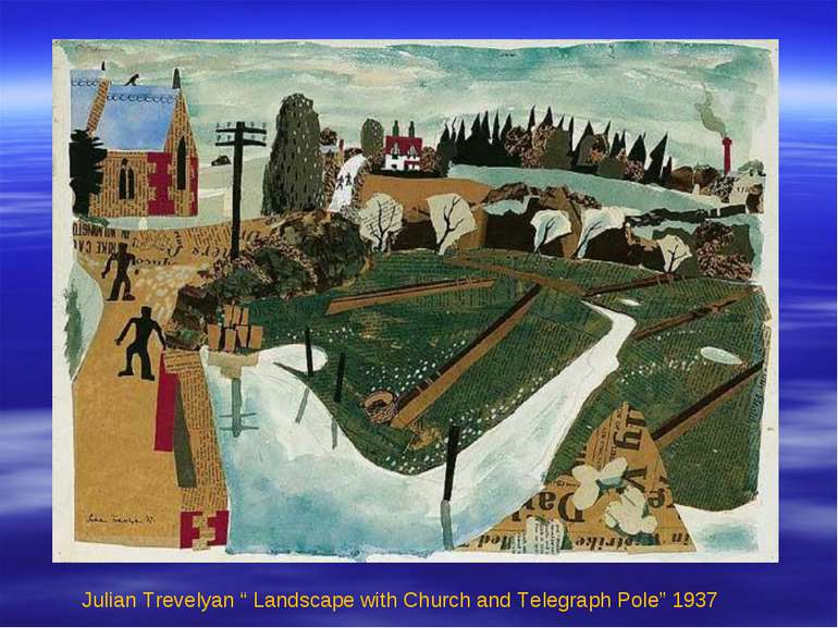 "Julian Trevelyan "" Landscape with Church and Telegraph Pole"" 1937"