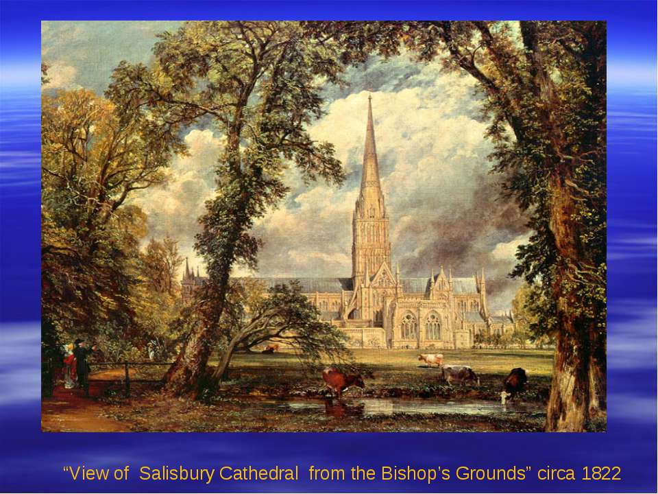 """View of Salisbury Cathedral from the Bishop's Grounds"" circa 1822"