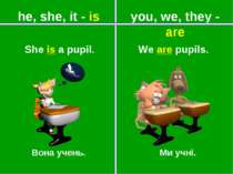 you, we, they - are he, she, it - is Вона учень. Ми учні. She is a pupil. We ...