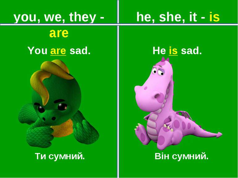 you, we, they - are he, she, it - is Ти сумний. Він сумний. You are sad. He i...