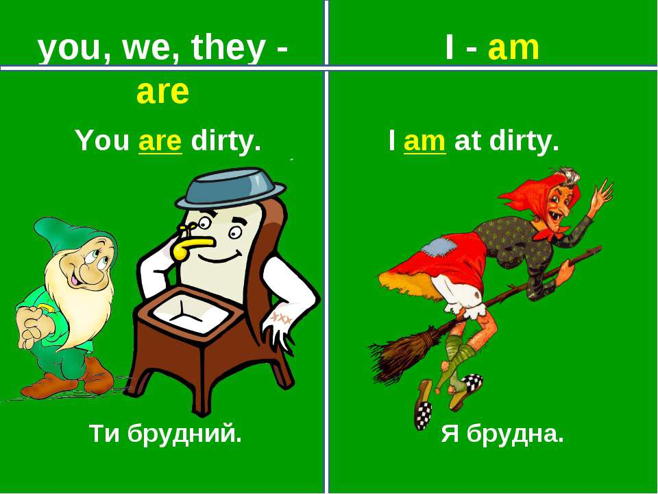 you, we, they - are I - am Ти брудний. Я брудна. You are dirty. I am at dirty.