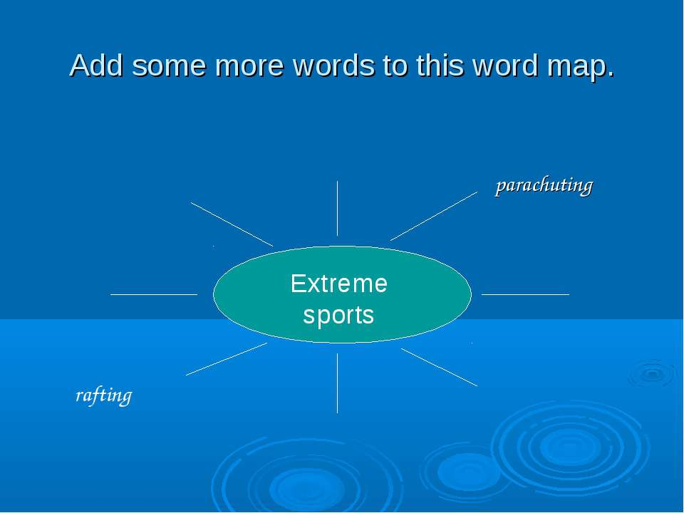Add some more words to this word map. Extreme sports parachuting rafting