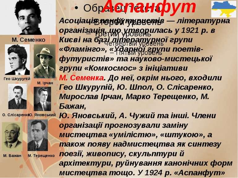 Аспанфут Асоціація панфутуристів — літературна організація, що утворилась у 1...