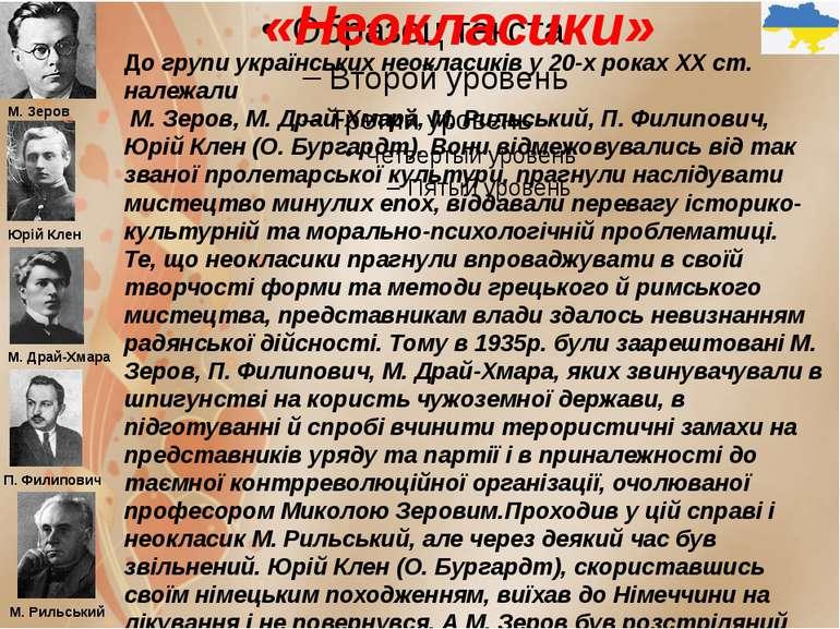 «Неокласики» До групи українських неокласиків у 20-х роках XX ст. належали М....