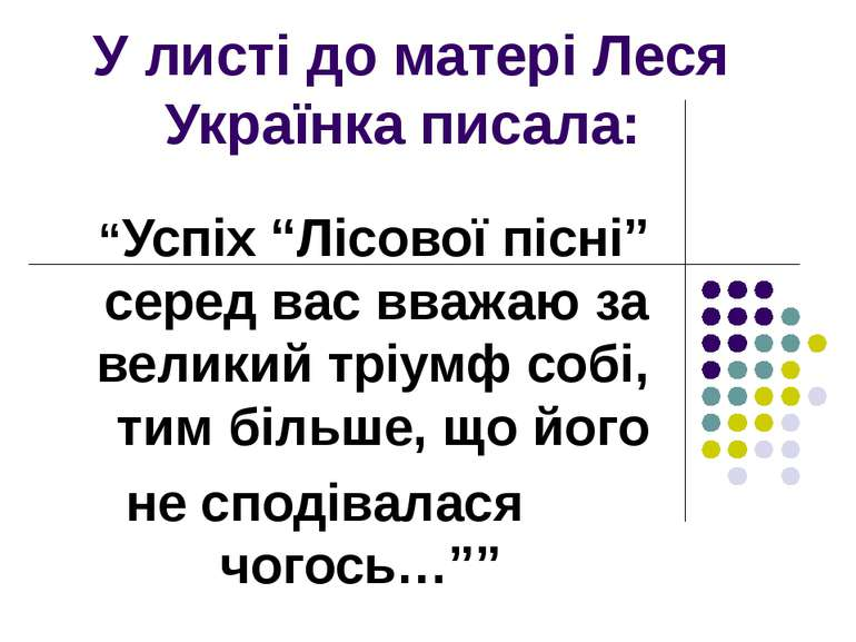 """У листі до матері Леся Українка писала: """"Успіх """"Лісової пісні"""" серед вас вваж..."""