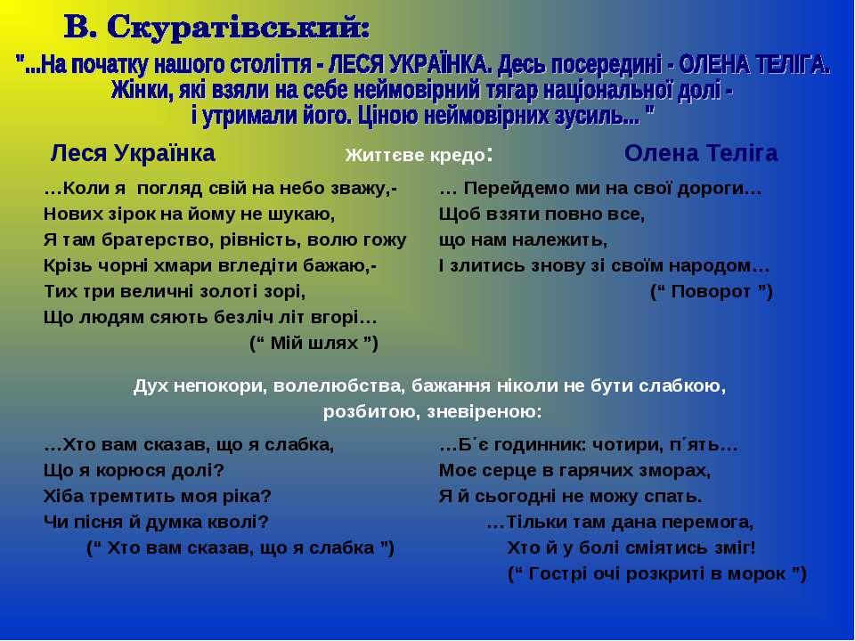 Леся Українка Життєве кредо: Олена Теліга …Коли я погляд свій на небо зважу,-...